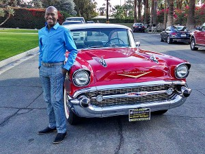 KODI WITH THE GORGEOUS 1957 CHEVY BEL AIR; COURTESY KODI SEATON