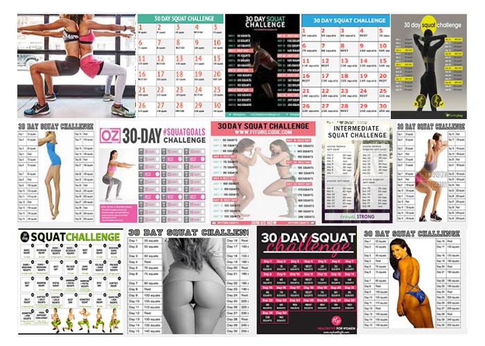 Squat challenge Google collage